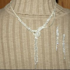 Selling this Rhinestone necklace and earrings in my Poshmark closet! My username is: littlebitshier. #shopmycloset #poshmark #fashion #shopping #style #forsale #Jewelry