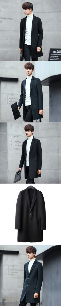 Casual Men's 2017 New Autumn Products, Handmade Cashmere Wool Coat, Double Wool Coat, Men's Long Hair Coat