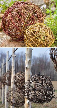 Cool DIY Garden Globes Make Your Garden More Interesting Bend, Weave and Shape the Vine into Spheres that Will be the Simple Garden Accents Garden Yard Ideas, Diy Garden Decor, Garden Projects, Garden Landscaping, Landscaping Ideas, Inexpensive Landscaping, Garden Spheres, Garden Balls, Cool Diy