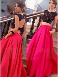 FUCHSIA OPEN BACK TWO PIECE LACE PROM DRESS