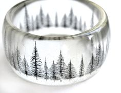 pine tree resin bangle - graphic hand cast resin bracelet - SLR camera photography on Etsy, $45.00