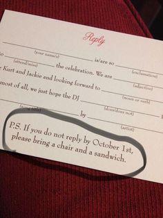 To ensure you get those RSVPs ASAP... Funny Wedding Programs, Original Wedding Invitations, Funny Wedding Invitations, Wedding Invitation Rsvp Wording, Rsvp Wedding Cards Wording, Wedding Stationery Tips, Addressing Wedding Invitations, Diy Rsvp Cards, Wedding Planner