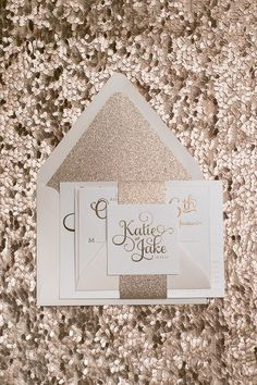 """TO DIE FOR Rose Gold wedding invitations! Rose gold foil, Rose gold glitter, and blush envelopes! Letterpress, foil stamping, or more economical printing options are available! 