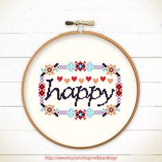 Modern  Cross stitch pattern PDF  HAPPY in Floral by redbeardesign, £3.00