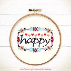 Cross stitch HAPPY in Floral