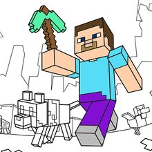 Minecraft Steve Diamond Armor Coloring Page From Category