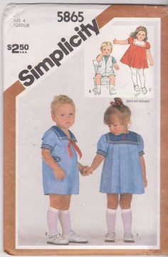 Simplicity 5865 Toddlers Sailor Collar Dress and Romper Pattern Boys Girls Vintage Sewing Pattern Size 2 Breast Chest 21 UNCUT Sailor Outfits, Sailor Dress, Suit Pattern, Romper Pattern, Childrens Sewing Patterns, Vintage Sewing Patterns, Baby Patterns, Sailor Fashion, Toddler Girl Dresses