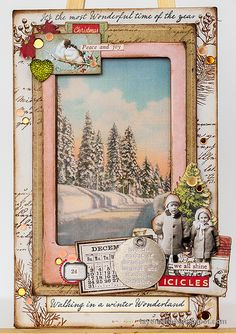 Layers of ink - Vintage Christmas Frame Tutorial by Anna-Karin Evaldsson. Christmas Frames, Christmas Projects, Vintage Christmas, Christmas Diy, Christmas Cards, Holiday Cards, Distressed Painting, Winter Cards, Christmas Background