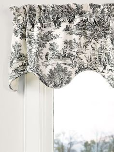 The Essex Toile Rod Pocket Scalloped Window Valance will add depth and detail to your windows. Timeless French toile print looks good alone or with coordinating panels. Country Decor, Waverly Curtains, French Country Fabric, Country Kitchen Curtains, Country Kitchen, Cottage Floor Plans, Country Kitchen Accessories, French Country Kitchens, French Country Curtains