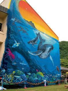 """WW 96 """"Riches of the Ocean""""  Executive Office Building  Pago Pago, American Samoa  35 Feet Long x 45 Feet High  Dedicated April 12, 2008  By Governor Togiola Tulafono"""