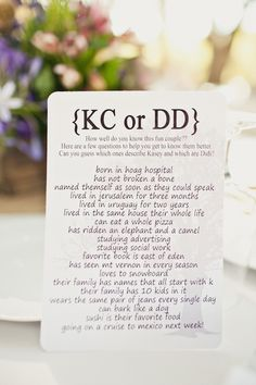 Love this idea - Get to know the couple, since most people coming only know one person or the other!  would be fun to do at the rehearsal dinner & give a prize to whoever gets the most correct.