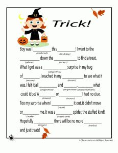 Halloween Mad Libs - Tricks! - PLUS, there's links to other holiday Mad Libs from this page.