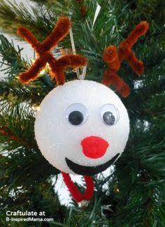 Christmas Ornaments for Kids to Make - Reindeer - B-Inspired Mama- Additional tip...spray paint the Styrofoam balls brown.