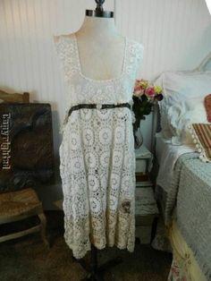 HEIRLOOMS OOAK magnolia silk ribbon crochet lace vtg pearl button apron tunic