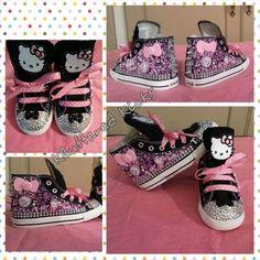 Hello Kitty Custom Converse on Etsy, $75.00 Cool Converse, Custom Converse, Shoe Crafts, Embellished Shoes, School Shoes, Miu Miu Ballet Flats, Alexandria, Sparkles, Babys