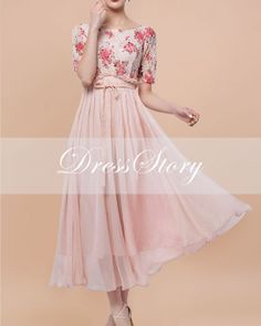Floral Lace & Pink Chiffon Maxi Dress  Mixed Media by DressStory, $124.99