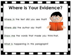 {freebie} a cute poster that includeds four questions which encourage student to support their thinking with evidence from the text!