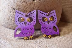 SALE! Purple Ombre Owl earrings//hand painted, drilled//Swarovski crystals//copper loops on Etsy, $9.95