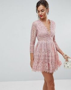 51c9a994cd9 ASOS Long Sleeve Lace Mini Prom Dress at asos.com