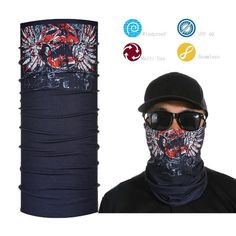 Skull Face Shield Bandana Upf 40 Sunscreen Balaclava Magic Scarf Bicycle Mask Hip-Hop Headband