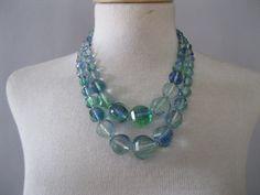 Vintage Multi Strand Necklace  1950s Glass Choker by ladyscarletts