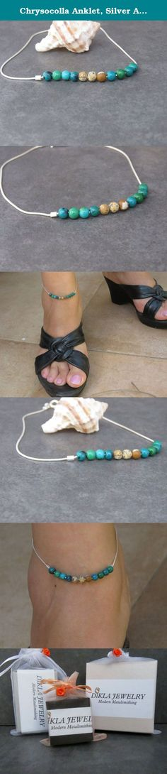 Chrysocolla Anklet, Silver Anklet, Beach Anklet, Dainty Anklet , Chrysocolla Ankle Bracelet, Summer Jewelry. Chrysocolla Anklet, Silver Anklet,Beach Anklet, Dainty Anklet , Chrysocolla Ankle Bracelet, Summer Jewelry. Stunning Silver Anklet with Chrysocolla and Jasper beads . This anklet is so elegant and feminine. Impressive 925 Sterling Silver chain with Chrysocolla and Jasper beads. Is your perfect summer jewelry and perfect for layering with more anklets. Each anklet is unique and...