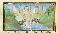 Book of Hours, MS M.1003 fol. 1r - Zodiac Sign: Aquarius -- Nude male figure standing in stream between hilly banks with trees, pouring water from ewer held in each hand. In background, castle or walled city.