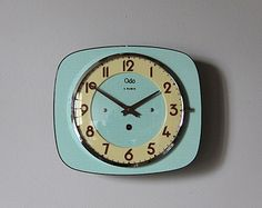 Vintage French Wall Clock Mint Green Formica Mid Century Retro