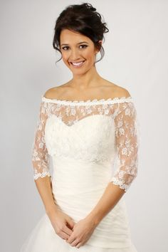SH14-2 - Lace off-the-shoulder shrug with Guipure lace trim, three quarter length sleeves and split button back.