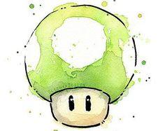 Mario Portrait Aquarell Kunstdruck Mario Print Mario