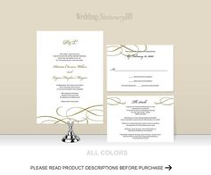 Simple elegance diy wedding invitation template that you can edit using Microsoft word 2010 or higher and print at home.  PRODUCT
