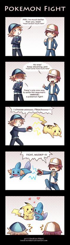 Pokemon fight by *Tenshi-no-Hikari