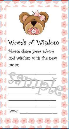 Baby Girl Shower Words of Wisdom