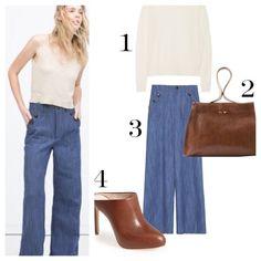 High Waist Wide Leg Jeans Denim trousers.Straight cut.High waist.Buttoned patch pockets.  Composition  OUTER SHELL  100% COTTON Zara Pants Wide Leg