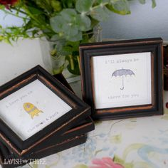 """The new love note . . . remind your special someone that your """"love can't be measured"""" and that you'll """"love them to the moon and back."""" Share with your child that you """"love to bee"""" with them and that they """"hold the key to your heart"""". Gift a dear friend stating that you """"love hanging"""" with them and the promise that you'll """"always be there""""! Our mini-Love Notes in a frame will beautifully share those sentiments often left unspoken."""