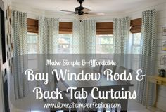 Simple and Affordable Bay Window Rods and Back Tab Curtains - Domestic Imperfection