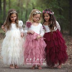 White Lace and Pink Tulle Lovely Flower Girl Dresses - Promfy Wedding Flower Girl Dresses, Little Girl Dresses, Girls Dresses, Flower Girl Dresses Burgundy, Flower Girl Dresses Country, Vintage Flower Girls, Dresses Dresses, Dresses For Kids, Childrens Bridesmaid Dresses