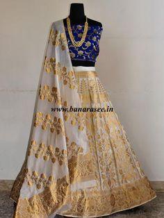 Banarasee/Banarasi Handwoven Semi Silk Unstitched Lehenga & Blouse Fabric With Dupatta-Off White Pakistani Dresses, Indian Dresses, Indian Outfits, Lehenga Designs, Saree Blouse Designs, Indian Attire, Indian Wear, Ethnic Fashion, Indian Fashion