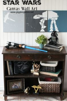 Forget commercial themed Star Wars room decorations like life sized wall clings! Give him his own Star Wars themed decor with this simple DIY Star Wars Canvas Wall Art. {via Giggles Galore}