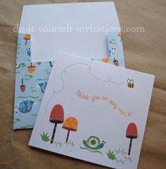 Thank you card printables - could use some of the snails, lanterns, and flowers in scrapbooking as well