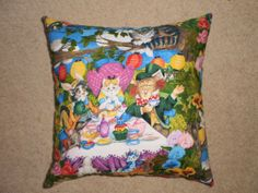 mad hatters tea party cushion cover 45cm X 45cm 100 by lynandlilly, $35.00
