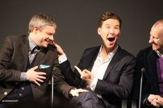 Watson & Holmes (& Holmes) hamming for the cameras or just genuinely that dorky? (Martin, Benedict, and Mark at the s3 preview)