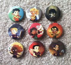 Set of 9 pins of the Heroes of Olympus protagonists (Percy, Annabeth, Jason, Piper, Leo, Hazel, Frank, Nico, Reyna). Buttons are 1.75'' in diameter with glossy mylar covering. Will come in a 5x7'' clear plastic bag.<<< These are adorable