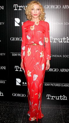 Cate Blanchett in a coral floral print dress