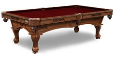 NHL Arizona Coyotes Pool Table comes in an 8-foot length. The Wood cabinet has CNC and laser cut logos. Choose from 2 finishes, 22 colors. Free installation. Visit SportsFansPlus.com for Details.