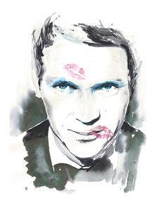 Original Illustration from Harper's Bazaar 1965 - Steve McQueen by silverridgestudio (sold)