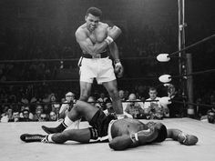 """""""Now Clay swings with a right, what a beautiful swing/And the punch raises the Bear clear out of the ring/ Liston is still rising, and the ref wears a frown/For he can't start counting `til Sonny comes down/Now Liston disappears from view."""""""