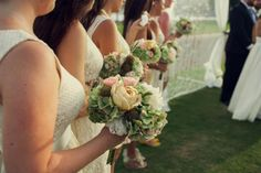 beautiful vintage-themed bouquets (created by my talented friend, Nicole)