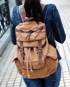 Canvas Rucksack Backpack for School & Outdoor #Canvasbackpack #Canvasleatherbag #Serbags