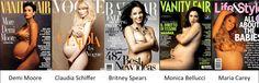Demi Moore, Claudia Schiffer, Britney Spears, Monica Bellucci, Maria Carey, nues, enceintes
